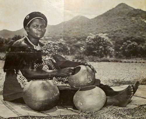 A Zulu Pottery with ukhamba (beer pots)